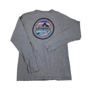 Patagonia Gray Long Sleeve Graphic Tee Shirt S